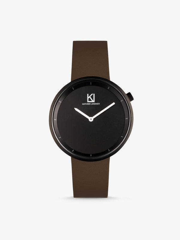 Minimalist black brown leather watch
