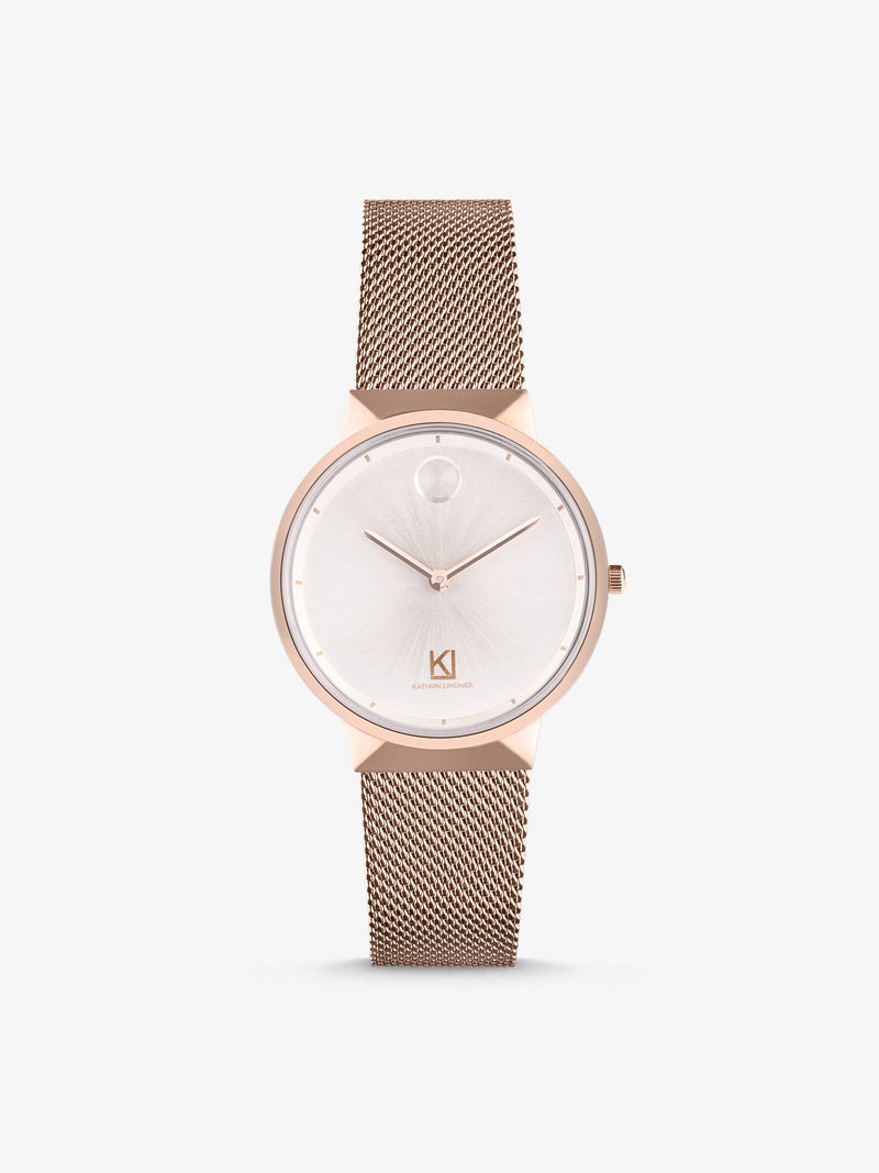 rose gold mesh strap women watch