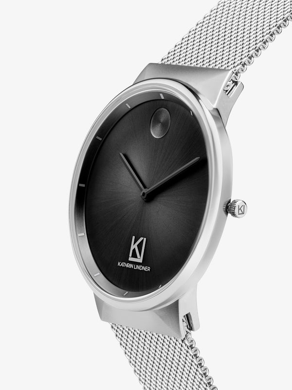 Black silver mesh strap watch