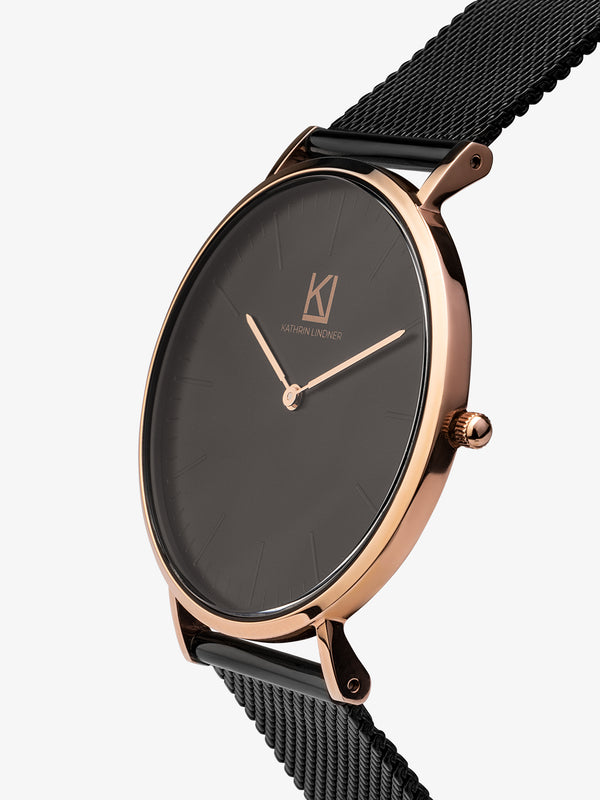 black rose gold mesh strap watch