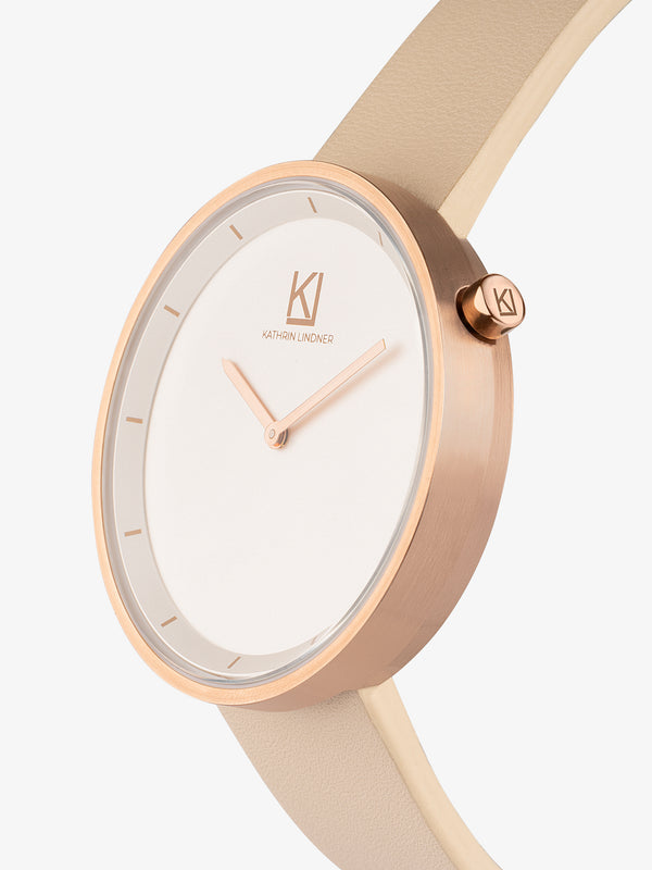 Beige rose gold women leather watch
