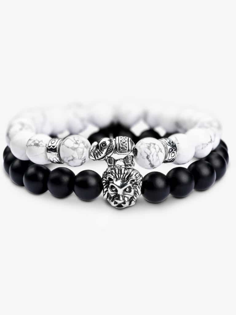 natural stone bracelet set black white