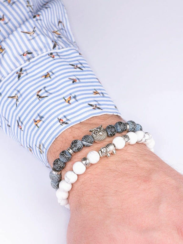 natural stone bracelet set blue white