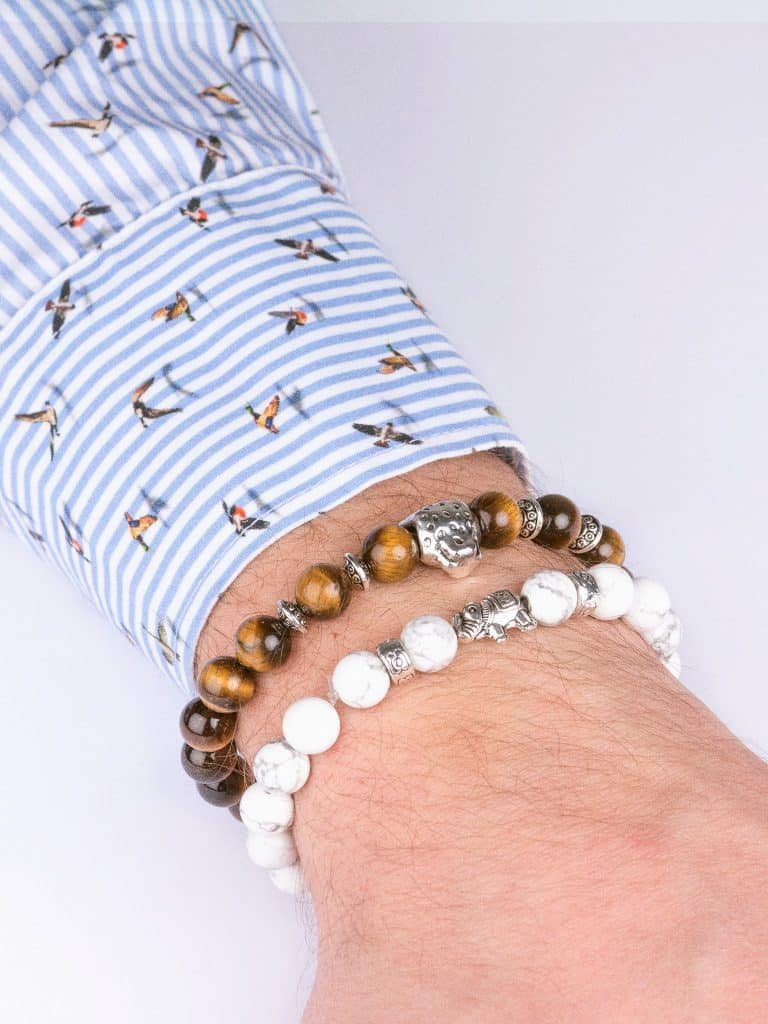 natural stone bracelet set brown white