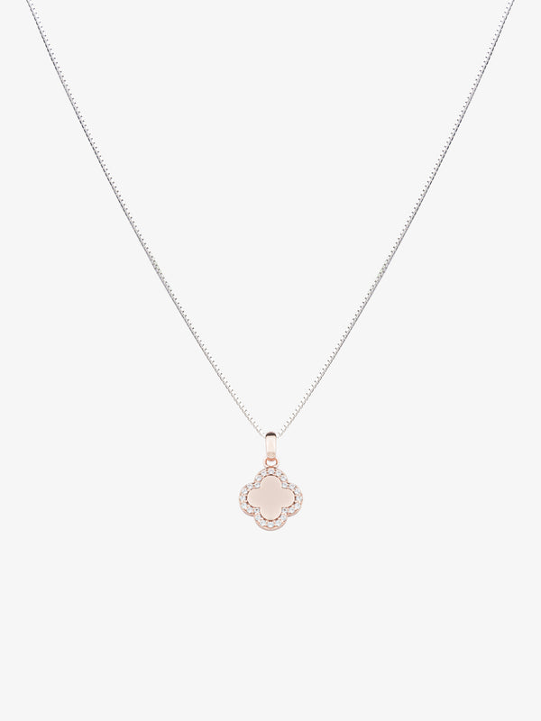 18k Rose Gold Plated Sterling Silver Clover Necklace