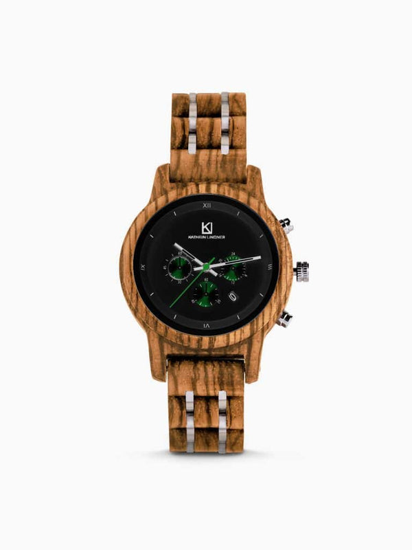 black wooden stainless steel watch