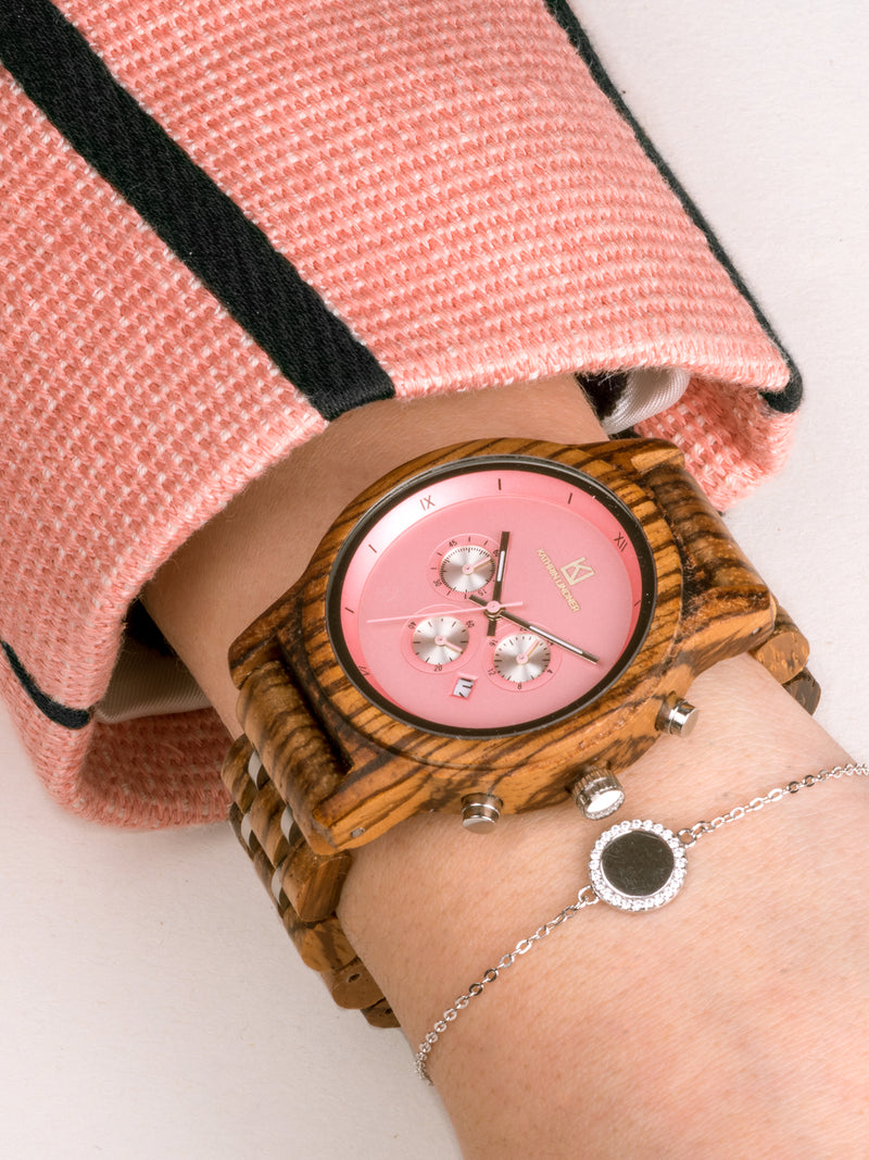 'Lille' Wooden Silver-Tone Watch