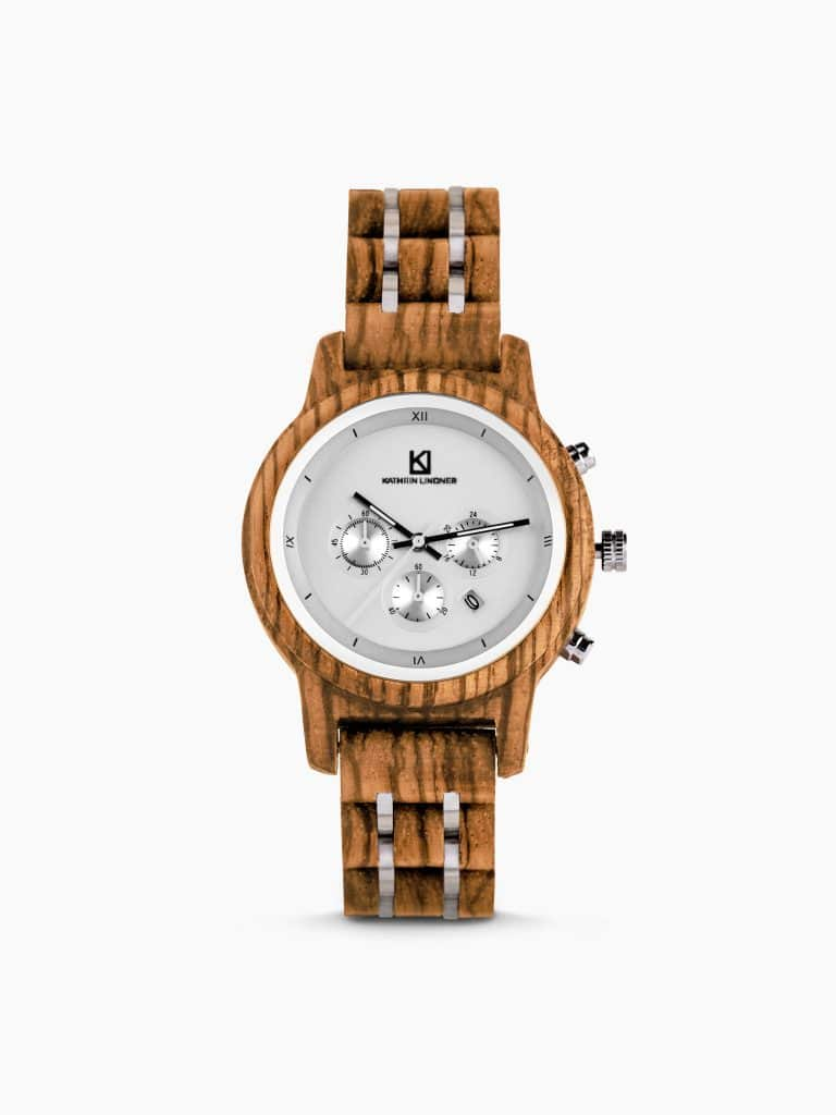 wooden stainless steel watch silver