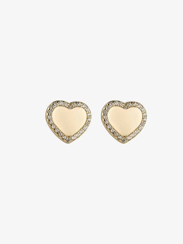 gold plated sterling silver heart earrings