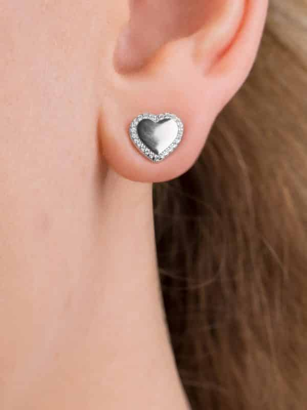 silver plated sterling silver heart earrings