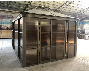 4x3m Outdoor Pavilion / Aluminum Metal Frame with Polymer Glass / Backyard Garden Sunroom