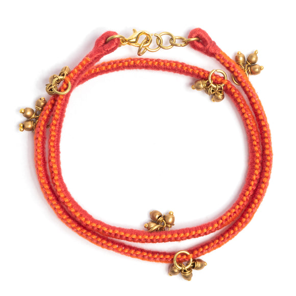 Red and Orange Thread Adjustable Bracelet