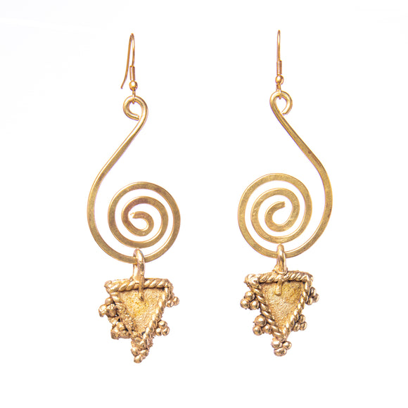 Triangular Brass Earrings DEr52