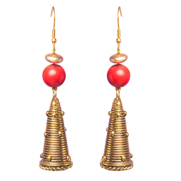Gold Tone Cone Earrings DEr41