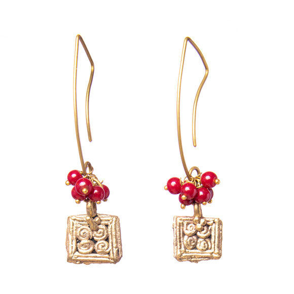 Square Dangle Gold Tone Earrings