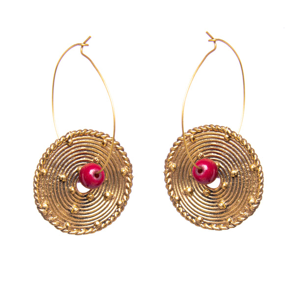 Gold and Red Circle Brass Dangling Earrings