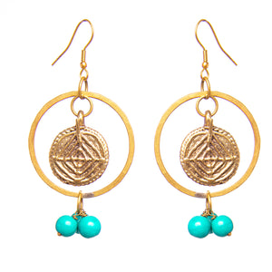 Blue and Gold Dangle Earrings
