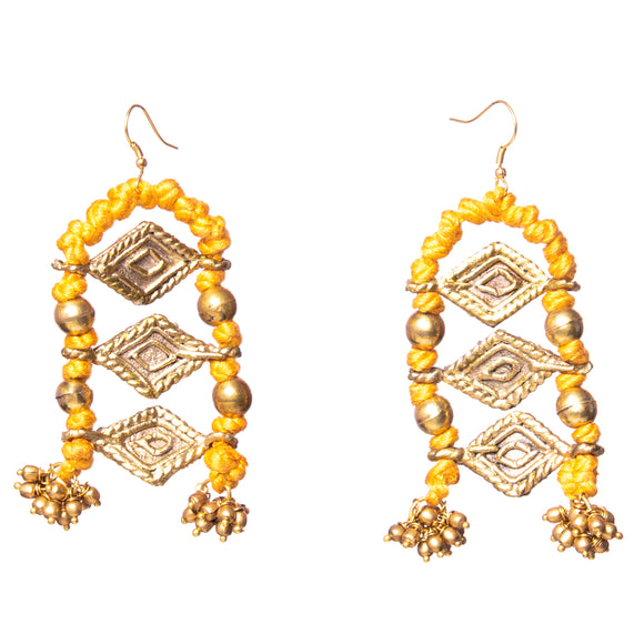 Mustard Thread Long Earrings DEr77b