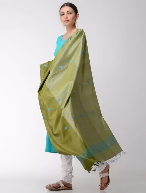 Olive Green Pure Silk  Hand woven  Dupatta MIH26
