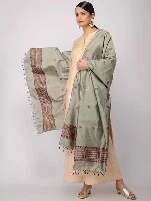 Ash Brown Pure Silk Hand woven Dupatta MIH046