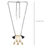 Black Red Gold Tone Dokra Necklace with Tassels