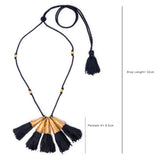 Black Gold Tone Bell Necklace with Tassels