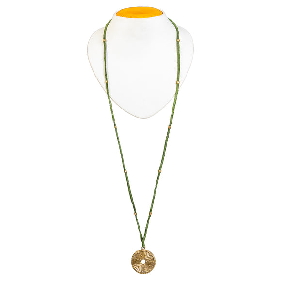 Green Long Circular Gold Pendant