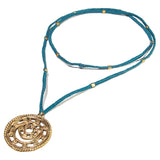 Blue Long Circular Gold Pendant