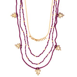 Maroon Gold Tone Multiple necklace Combo