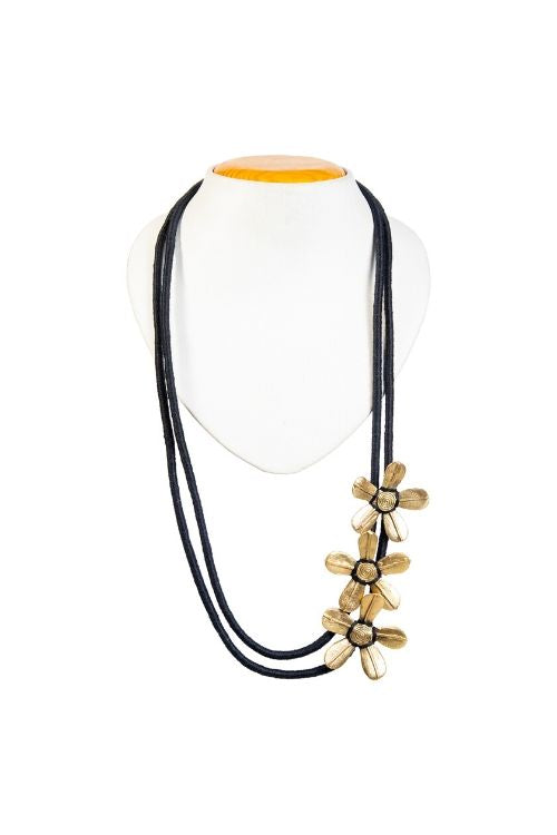 Black Multi layer Brass Floral Thread Bead Necklace