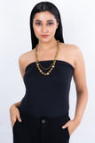 Dokra Golden Brass Bead Layer Necklace CD1950b
