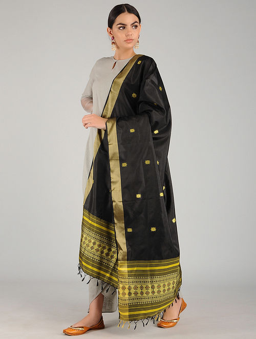 Black-Yellow Pure Silk Hand woven Dupatta