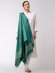 Pine Green Pure Silk Scarf, Hand woven Indian Dupatta