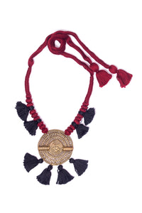Brown-Black Gold Tone Dhokra Necklace D15b