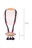 Black Thread Brass Matinee Necklace D1b