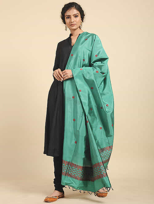 Light Green Pure Silk Hand woven Dupatta MIH04