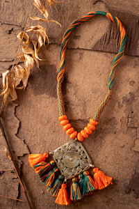 Orange-Green Thread Brass Matinee Necklace D2d