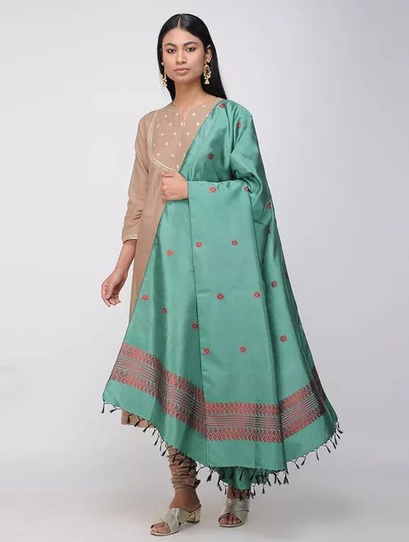Sea Green Pure Silk Hand woven Dupatta