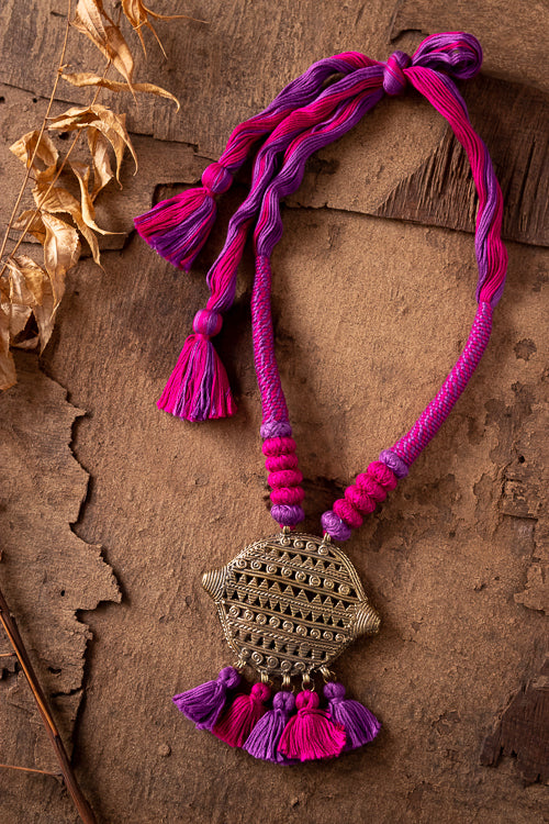 Multi Colour Gold Tone Dhokra Necklace D44d