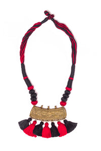 Red-Black Gold Tone Dhokra Necklace D50b