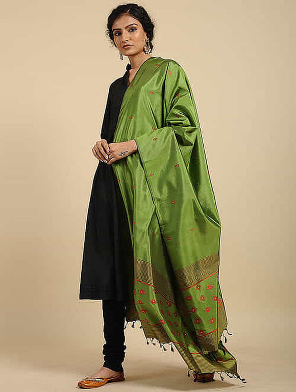 Green Pure Silk Hand Loom Dupatta
