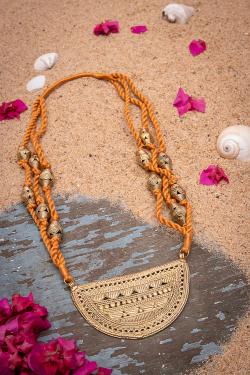Dhokra Handcrafted Half Moon Thread Necklace D93