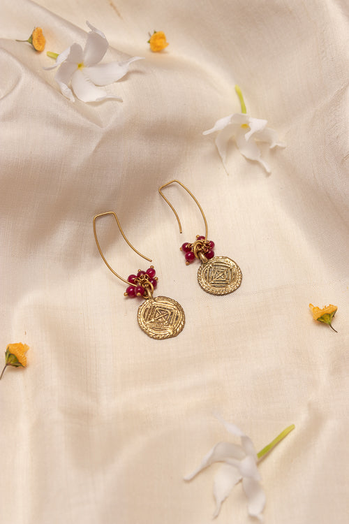 Circular Dangle Gold Tone Earrings