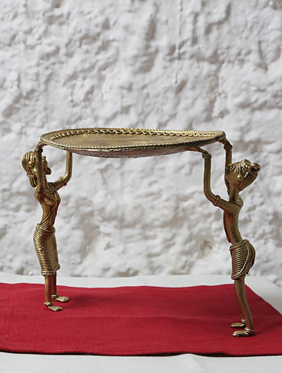 Miharu Dhokra Standing Tribal Side Table Tray