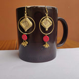 Red and Glod Tone earrings