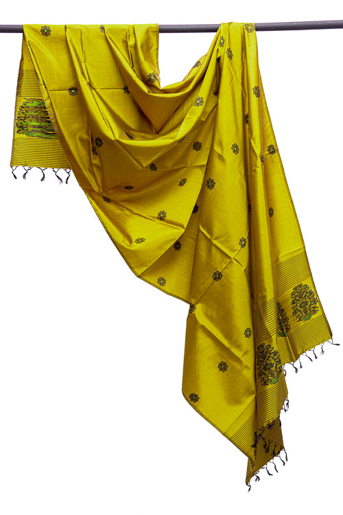 Bright-Yellow Pure Silk Hand woven Dupatta MIH083