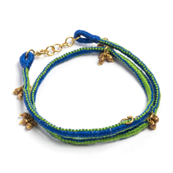Green and Blue Thread Adjustable Bracelet TB02