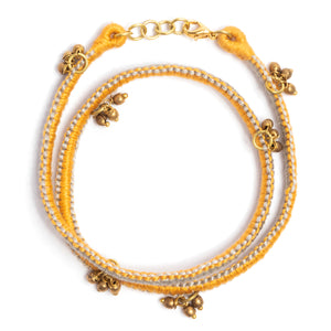 Ash and Yellow Thread Adjustable Bracelet TB04