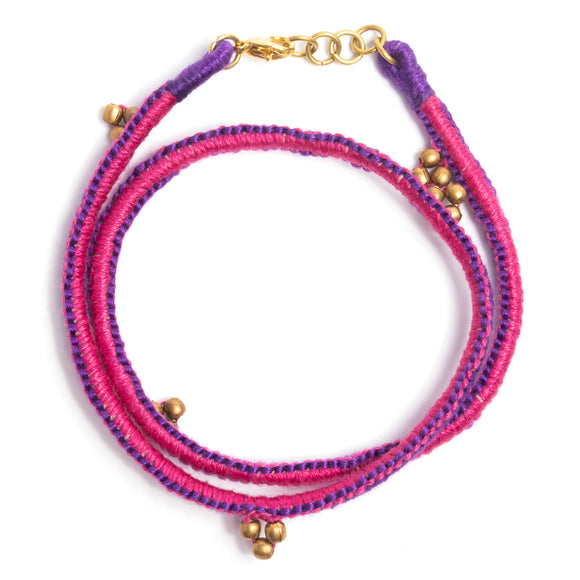 Purple and Pink Thread Adjustable Bracelet TB04