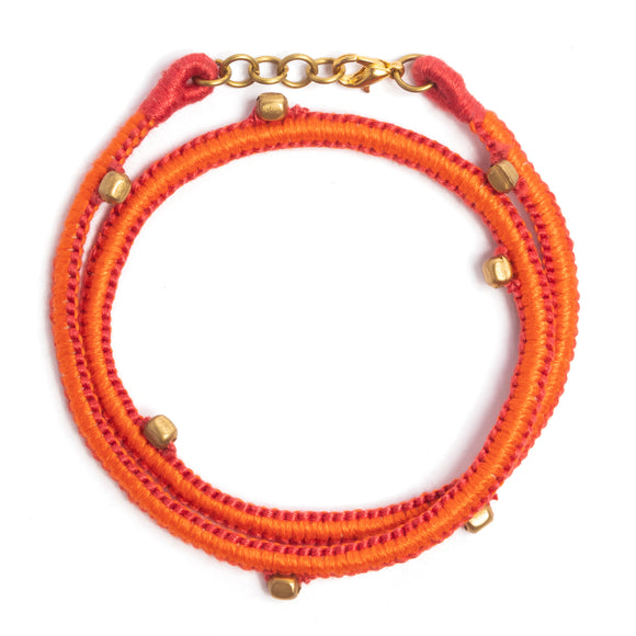 Red and Orange Thread Adjustable Bracelet TB06